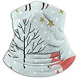 Linger In Calentador de Cuello de Microfibra-Tubo de Polaina de Cuello, Calentador de oídos Diadema Máscara Facial Zorros Rojos Woodland Stars Snow On