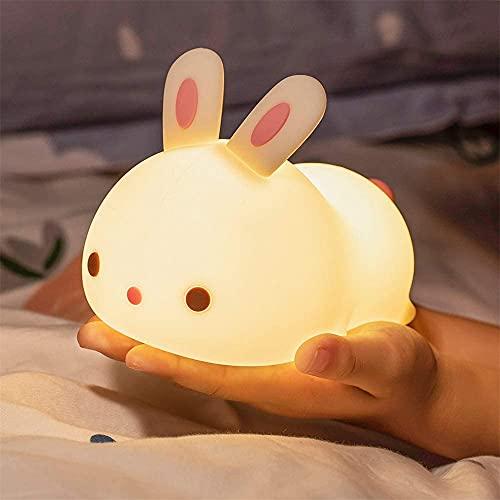 SENQIU Luce Notturna Bambini,Luce Notturna LED,Lampada Touch da Comodino per Camera da Letto con Ricarica USB,Luce Notturna a Forma di Coniglio Carino Che Cambia Colore