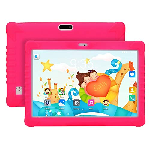 10 Inch Unlocked Dual SIMs Quad Core Kids Tablet Children Tablet PC Android 8.1 16GB HD 2GB RAM IPS Screen, 3G, WIFI, with APPs for Learning Free Kids Proof Case Stand new version (Hot Pink)