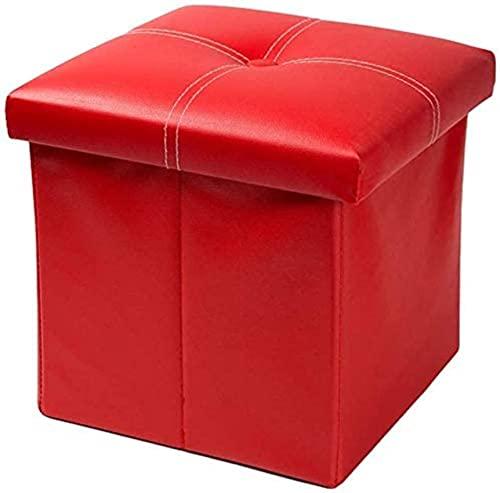 Poggiapiedi Imbottito Pieghevole Cubo Sintetico Ripostigli Poggiapiedi, Poggiapiedi Sedile Sgabello Cassettiera Per Bambini Poggiapiedi Tavolino Scalino Poggiapiedi (Colore: Rosso, Dimension
