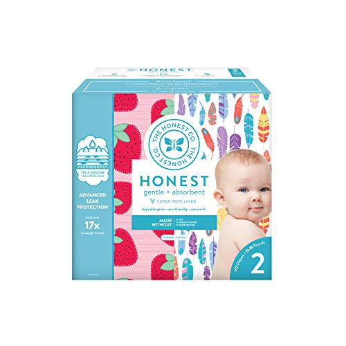 Price comparison product image The Honest Company Super Club Box Diapers with TrueAbsorb Technology,  Painted Feathers & Strawberries,  Size 2,  152 Count
