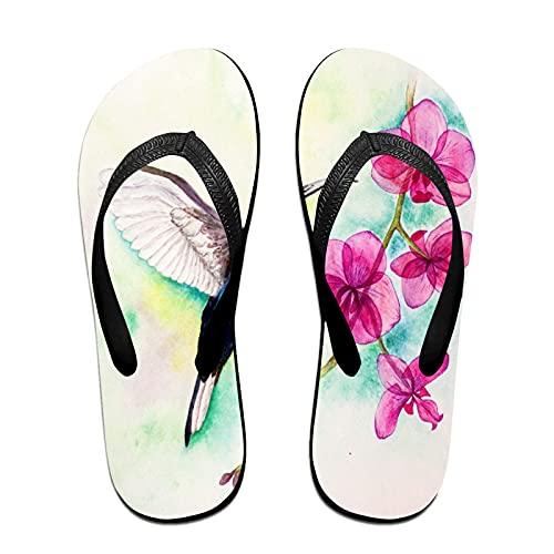 Sandalo infradito sottile unisex,Uccello e orchidea dell'acquerello, Infradito per tappetino da yoga Comodo cinturino in pelle da spiaggia con suola in EVA leggera taglia M