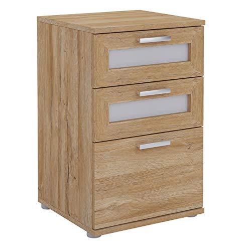CARO-Möbel Nachttisch für Boxspringbetten MARIKE Nachtschrank Nachtkommode in Wildeiche, mit 3 Schubladen