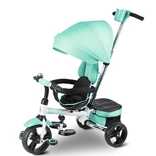 CDNS Triciclo Trikes Trikes- Green 4 en 1 Triciclo para Niños con Dosel - Cochecito de Dirección para Bebé con Asa de Dirección Durante 1 a 6 Años, Asiento de Seguridad rápido/Gre