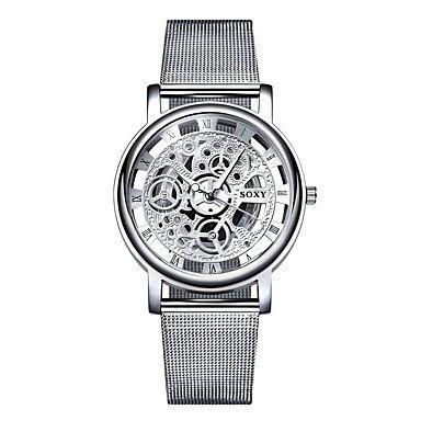 Fashion Uhren Soxy Herren-Armbanduhr Hohl Quarz Steel Herren-Casual Armbanduhren, silber, For Men-One Size