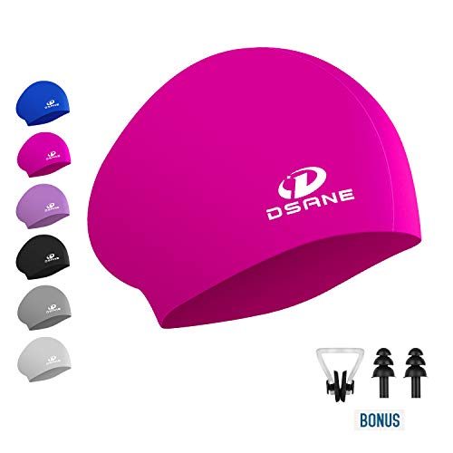 Womens Silicone Swim Cap for Long Hair,3D Ergonomic Design Silicone Swimming Caps for Women Kids Men Adults Boys Girls with Ear Plug and Nose Clip (Pink)