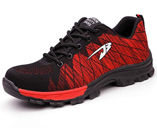 Chaussures de sécurité de Basket Knit en Embout Composite de Acier Legere Confortable aérée pour Le Travail Homme Femme Rojo 45 EU