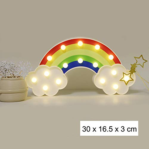 Rainbow Star Cloud Moon LED Night Light Battery Powered Wall Hanging Lamps Warm White Marquee Sign for Bedroom Nursery Decor