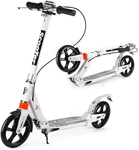 CHNG Scooters para Adultos Patinete Unisex Ajustable - Patinete de Empuje Plegable portátil Freno de Mano y suspensión Doble Blanco Soportes 330 Libras No eléctrico