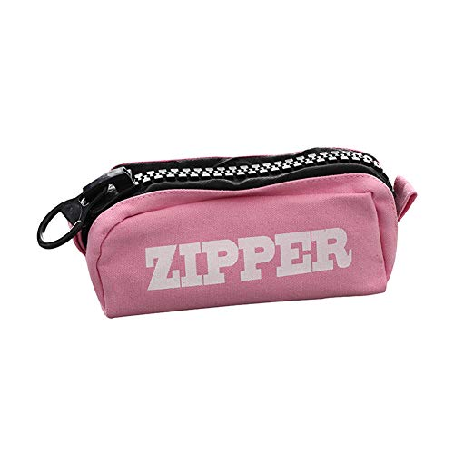 Cosanter Estuche de Lápiz de lona Bolso de la pluma de la capacidad grande con patrón'zipper' para estudiantes y empleados de oficina (Rosa) 20,5 x 8,5 x 7 cm