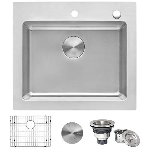 Ruvati 25 x 22 inch Drop-in Topmount Kitchen Sink 16 Gauge Stainless Steel Single Bowl - RVM5025