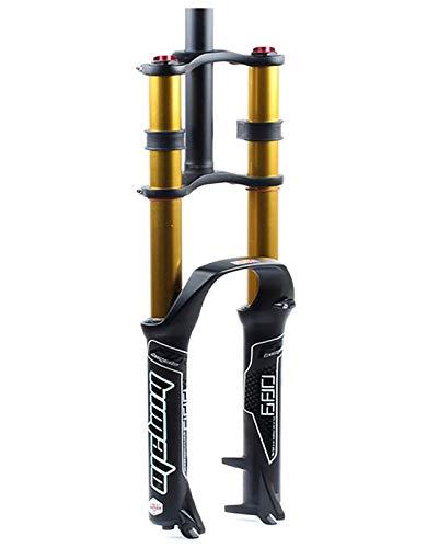 MATTE Ultraligera MTB Frente Tenedor, 26/27,5/29 Pulgadas Hombro Doble suspensión controlada BTT de Descenso hidráulico, Tubo Recto de aleación de Aluminio de Bicicletas Amortiguador