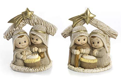 Paben Noel Lot de 2 petits ruches de Nativité pour crèche de Noël en résine 9 cm