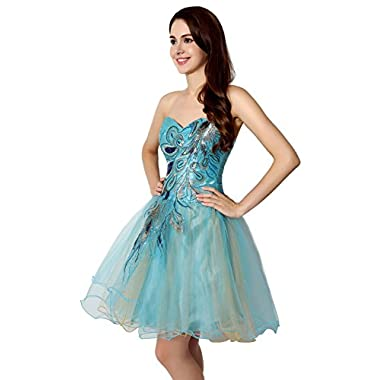 Clearbridal Women's Short Sky Blue Peacock Prom Party Homecoming Dress