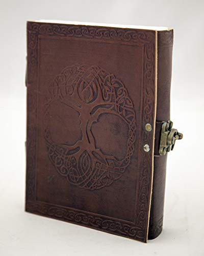 India Arts Handmade Embossed Leather Celtic Tree of Life Journal Notebook Personal Organizer Sketchbook 5' x 7' with Latch,Leather Brown