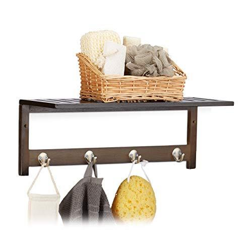 Relaxdays Estante de Pared con 4 Ganchos, 17,5 x 50 x 16 cm, bambú, toallero, Perchero, Colgante, marrón Oscuro, Metal