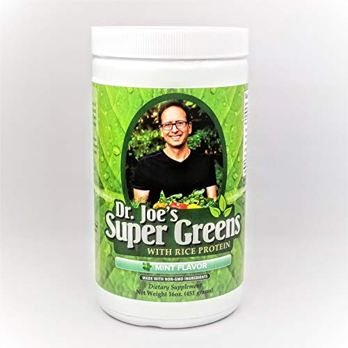Dr. Joe's Super Greens - Mint Flavor - Vegan, Green, Superfood Powder with Rice Protein