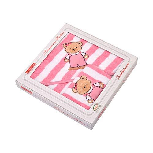 Wörner Lot de 2 textiles de bain en éponge, rayé rose