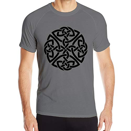 Irish Shield Warrior Celtic Cross Knot Men's Dry Fit Short Sleeve Shirts Running T-Shirt Deep Heather