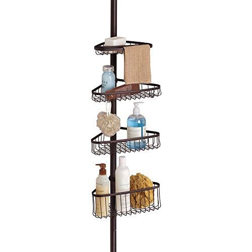 InterDesign York Teleskop Duschregal   mit Handtuchhalter und Haken   hochwertige Duschablage ohne Bohren   vierfacher Duschkorb für mehr Stauraum   Metall bronze lackiert