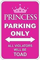 プリンセスパーキングオンリーパーキングサインアルミニウムプレートバーデコレーションロゴポスター