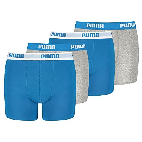 PUMA Boxershorts Jungen Kinder Unterhose Unterwäsche 4 er Pack, Farbe:417 - Blue/Grey, Bekleidung:164