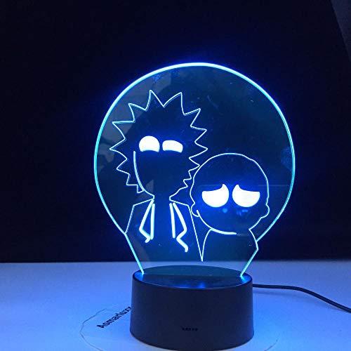 Lámpara de ilusión 3D Luz de noche LED Divertido Rick & Morty Última figura para niños Decoración de dormitorio Cambio de color Dormitorio fresco