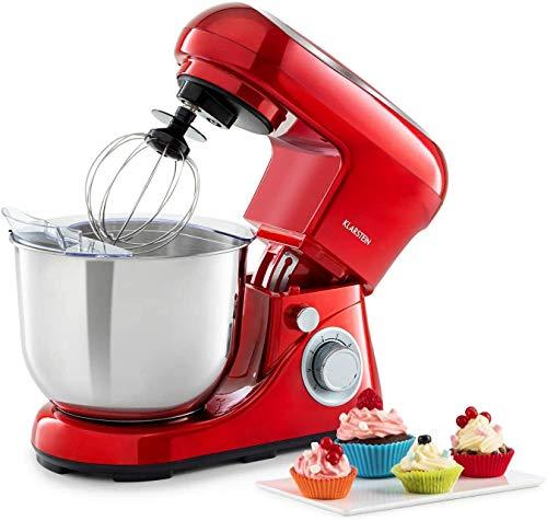 Klarstein Bella Pico 2G - robot de cocina, mezclador de alimentos, 1200 W / 1,6 PS, 6 niveles con efecto pulso, sistema de rotación planetaria, cuenco de 5 litros de capacidad, 3 piezas, rojo