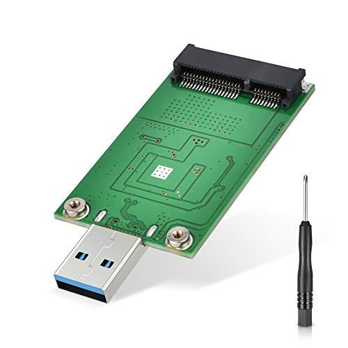 ELUTENG mSATA Adapter,mSATA auf USB 50mm Asm1153E Chip Unterstützung UASP SATA 6 Gbps Mini SATA to USB 3.0 as Portable Flash Drive Externe Festplatte (Kein Kabel benötigt)