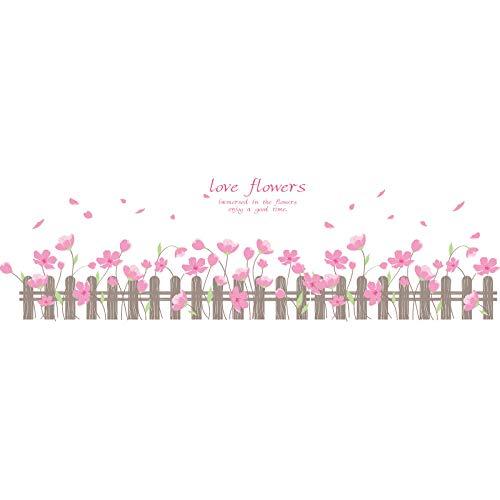 Papel pintado tejido no tejido Letras de hojas florales rosadas blancas Papel tapiz fotográfico fotomurales decorativos para Sala Cuarto Oficina Salón vinilos pared 400x280cm