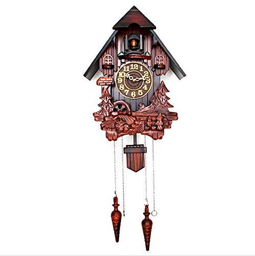 LJTT Reloj de Pared de Cuco Tallado de Madera Maciza, habitación para niños, Sala de Estar, música en la Hora, Swing de Reloj, Reloj de Cuco Creativo