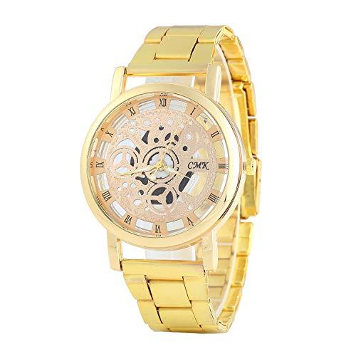 GreceMonday - Reloj de Pulsera para Hombre, diseño de Esqueleto, Correa de Malla, Unisex, de Cuarzo, Reloj Hueco, Color Dorado