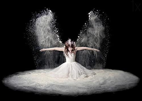 WANGQQ Cuadro de lienzo con diseño de alas de ángel, pintura en blanco y negro, para bailarina, póster y papel de impresión, para gimnasio, yoga, decoración de habitación, 50 x 75 cm, sin marco