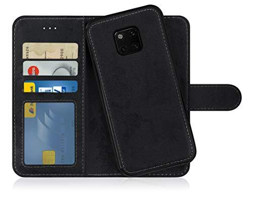 MyGadget Flip Hülle Handyhülle für Huawei Mate 20 Pro - Magnetische Hülle aus Kunstleder Klapphülle - Kartenfach Schutzhülle Wallet - Schwarz