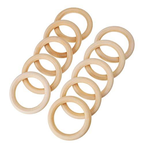 Bocotoer Holz Ringe Ringe Hölzern Ring Anhänger für Handwerk und Anschlussstück 70 mm Packung mit 20