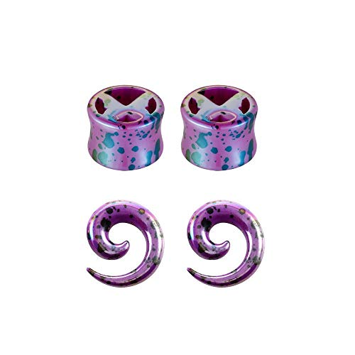 LERDBT Tunnel Geometrische Polished Body Piercing Schmuck Acryl Ohrringe Piercing Schnecke Aurikel-Schmuck-Set Für Body Piercing (Color : Purple, Size : 10mm)