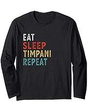 Vintage Eat Sleep Timpani Repeat Funny Timpani player music Manga Larga