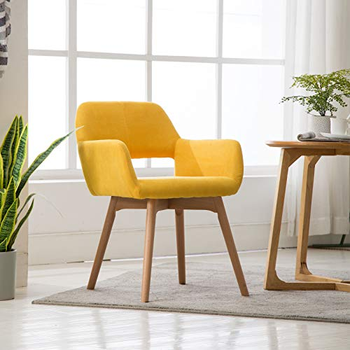 Lansen Furniture(Set of 1) Modern Living Dining Room Accent Arm Chairs Club Guest with Solid Wood Legs(1, Yellow)