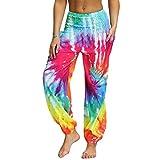 Nuofengkudu Mujer Hippies Pantalones Harem Tailandeses Boho Estampados Bolsillos Cintura Alta Baggy Yoga Pants Verano Playa Fiesta (Arco B,Talla única)
