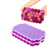 Ice Cube Trays with Lids,2-Pack 74 Ice Cubes Food Grade Silica Gel Flexible