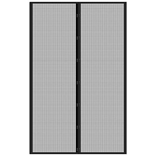 39'x99' Fiberglass Magnetic Screen Door - IKSTAR Upgrade Reinforced Mesh Curtain with Magnet Closure, Hands Free, Full Frame Hook&Loop,Kid/Pets Entry Friendly, Black
