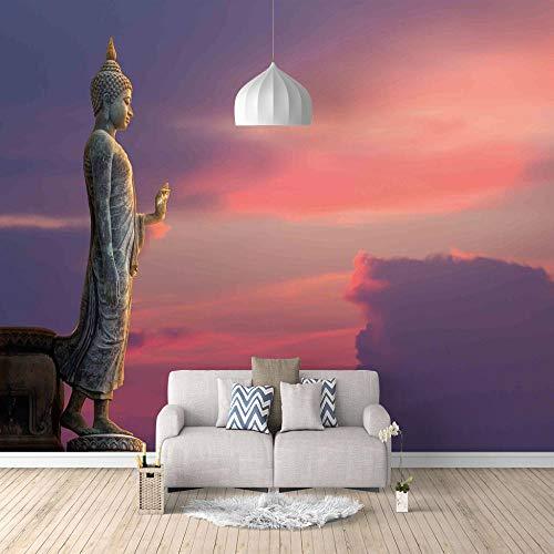 Papel Pintado 3D Majestuosa Estatua De Buda Fotomural Para Paredes | Mural | Vinilo Decorativo Decoración Comedores, Salones, Habitaciones - 400 X 280 Cm