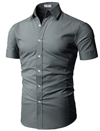 H2H Mens Casual Premium Soft Spandex Cotton Short Sleeve V-Neck T-Shirts Burgundy US M/Asia L (CMTTS0228)