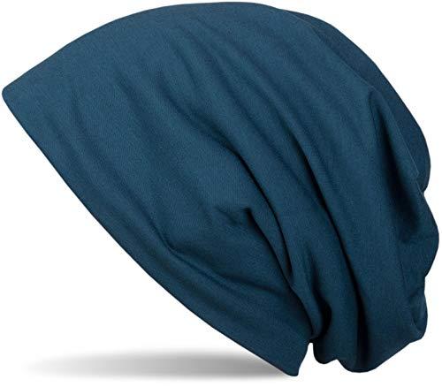 styleBREAKER Klassische Einfarbige Unisex Beanie Mütze mit inliegendem Fleece Stoff, gefüttert 04024008, Farbe:Blau-Petrol
