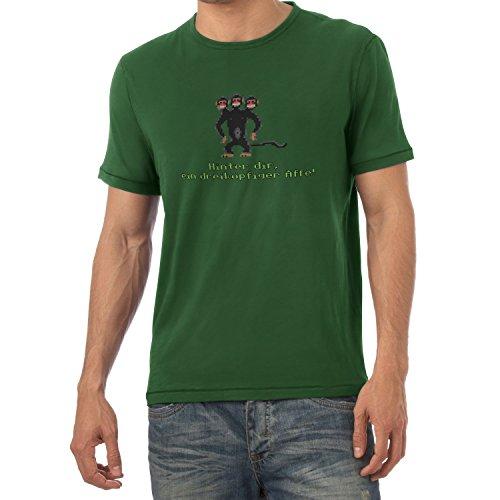 NERDO Herren Dreiköpfiger AFFE T-Shirt, Flaschengrün, XL
