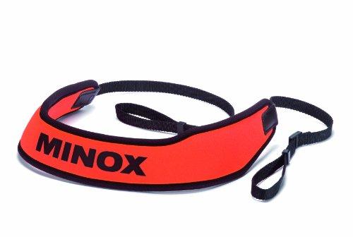 MINOX verrekijker riem neopreen – comfortabele en drijvende draagriem voor verrekijkers in rood-zwart design voor het snel vinden van de verrekijker