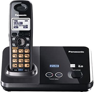 Panasonic KX-TG9321T 2-Line Cordless Phone, Metallic Black, 1 Handset