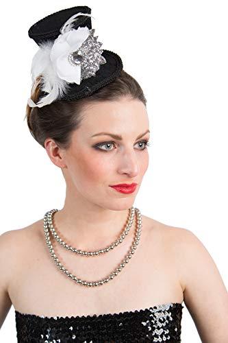 Sombrero para carnaval, diseo de plumas, color plateado y negro