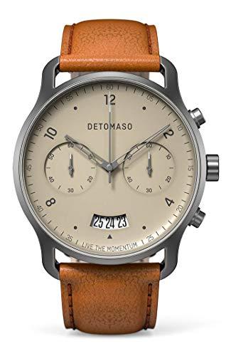 DETOMASO SORPASSO Chronograph Ivory Herren-Armbanduhr Analog Quarz Italienisches Lederarmband Braun