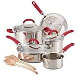 Rachael Ray Create Delicious Stainless Steel Cookware Set, 10-Piece Pots and Pans Set, Stainless Steel with Red Handles